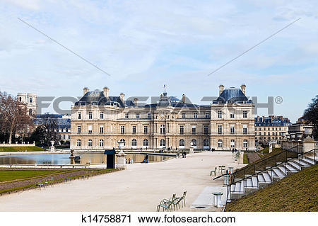 Stock Photography of view of Luxembourg Palace in Paris in early.