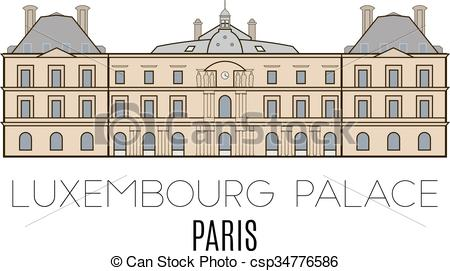 Vector of Luxembourg Palace, Paris, France. Vector line style.