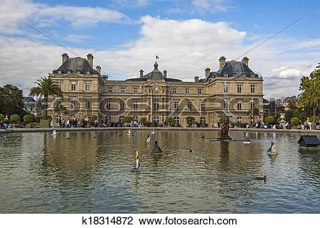 Stock Photo of Pool with fountain in front of Luxembourg Palace.