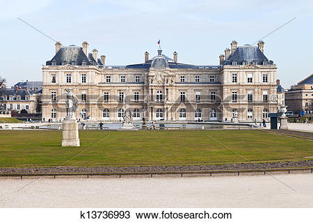 Stock Photo of front view of Luxembourg Palace in Paris k13736993.
