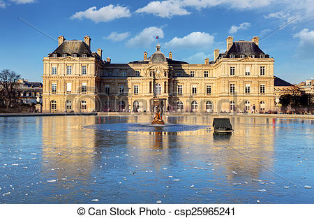 Stock Photo of Luxembourg Palace in Jardin du Luxembourg, Paris.