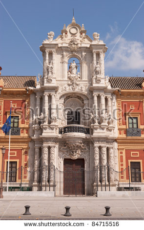 Baroque Facade Of The Palace Of San Telmo In Seville. Its.