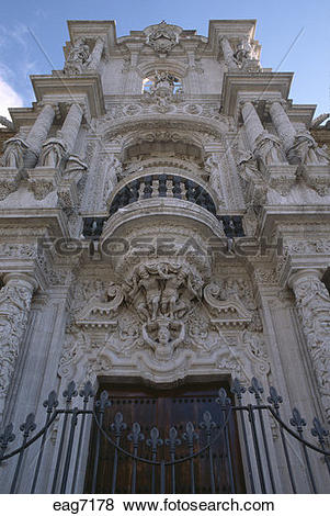 Pictures of The ornate stone carved three storey entryway to the.
