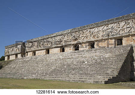 Stock Photo of Palace of the Governor, Uxmal Mayan archaeological.