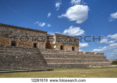 Stock Photograph of Palace of the Governor, Uxmal Mayan.