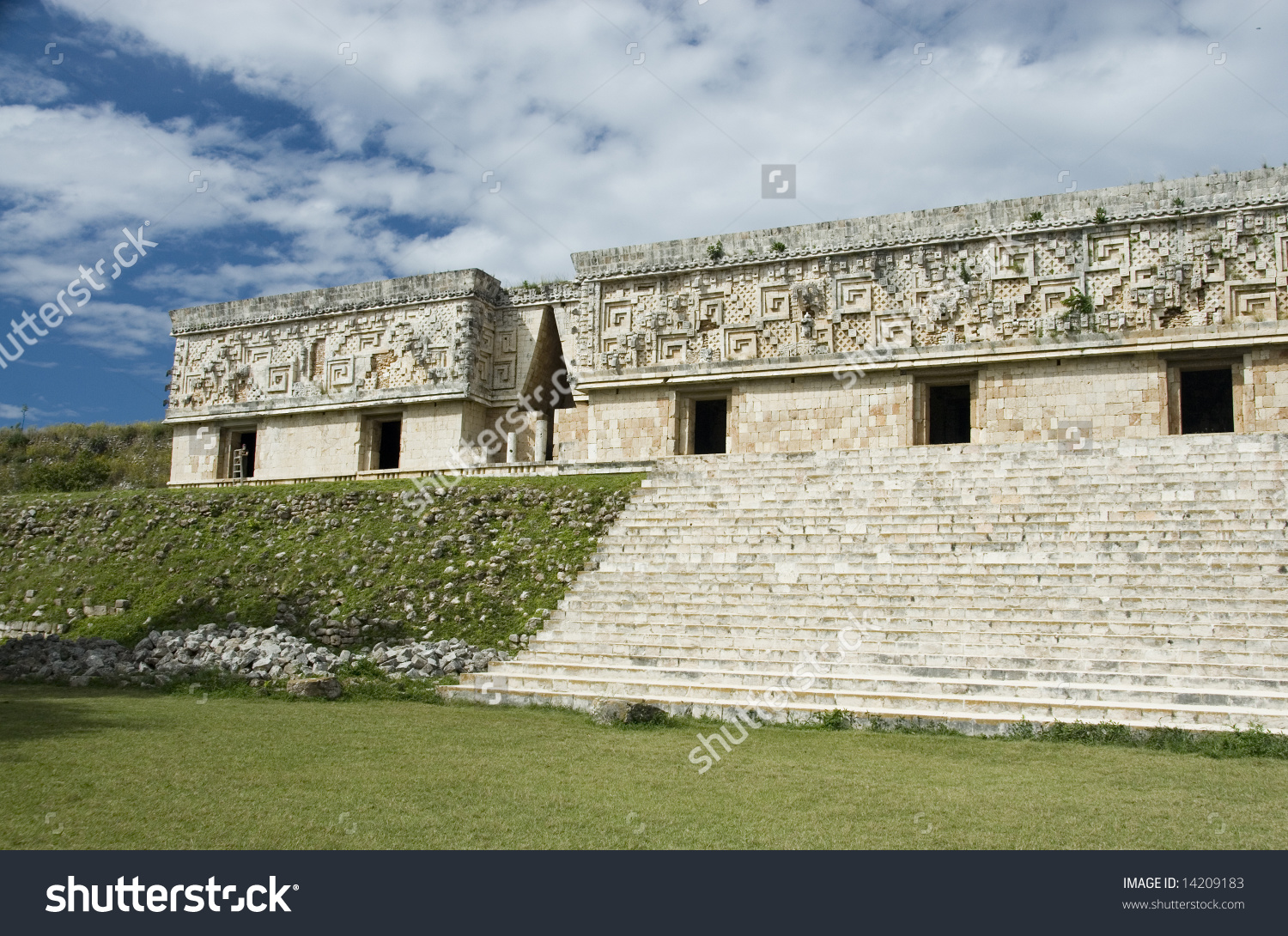 The Palace Of The Governor, Puuc Architectural Style At Uxmal Maya.