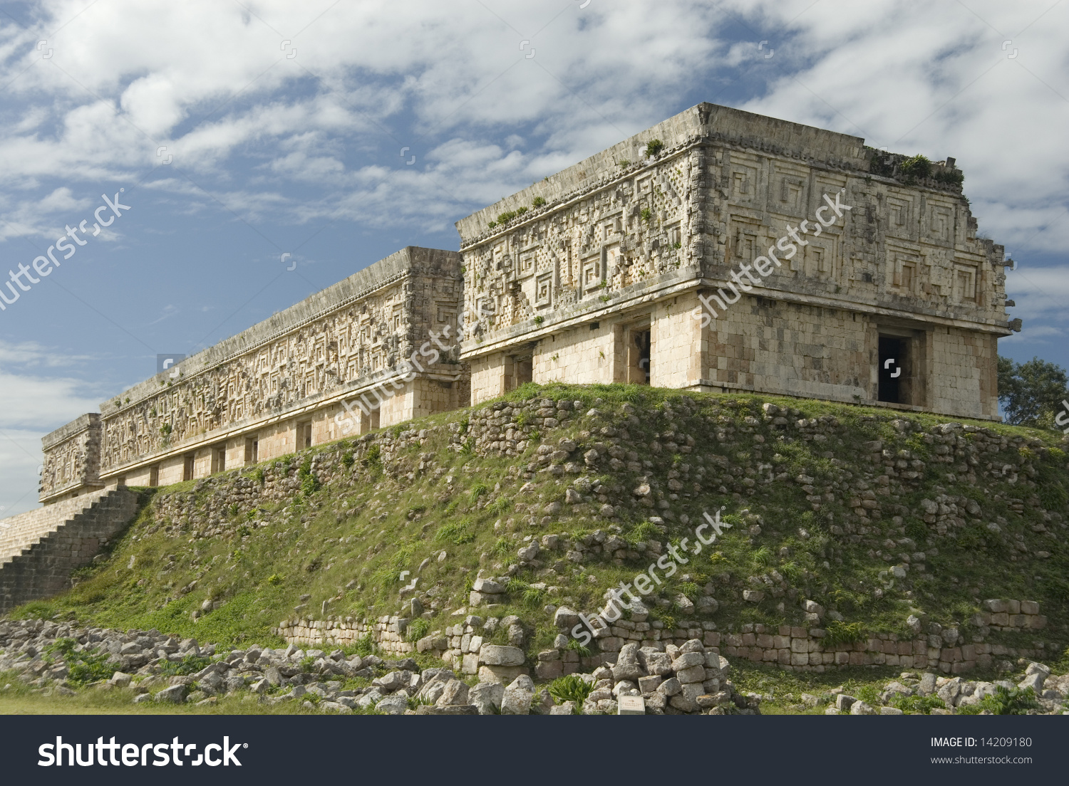 Palace Governor Puuc Architectural Style Uxmal Stock Photo.