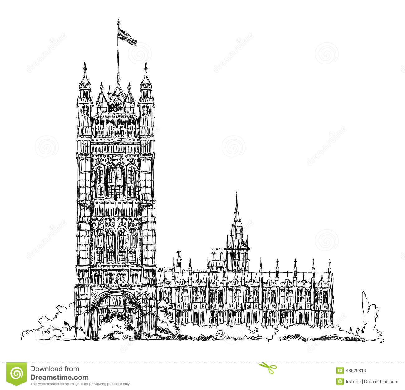 Big Ben And Parliament Tower In London, Sketch Collection.
