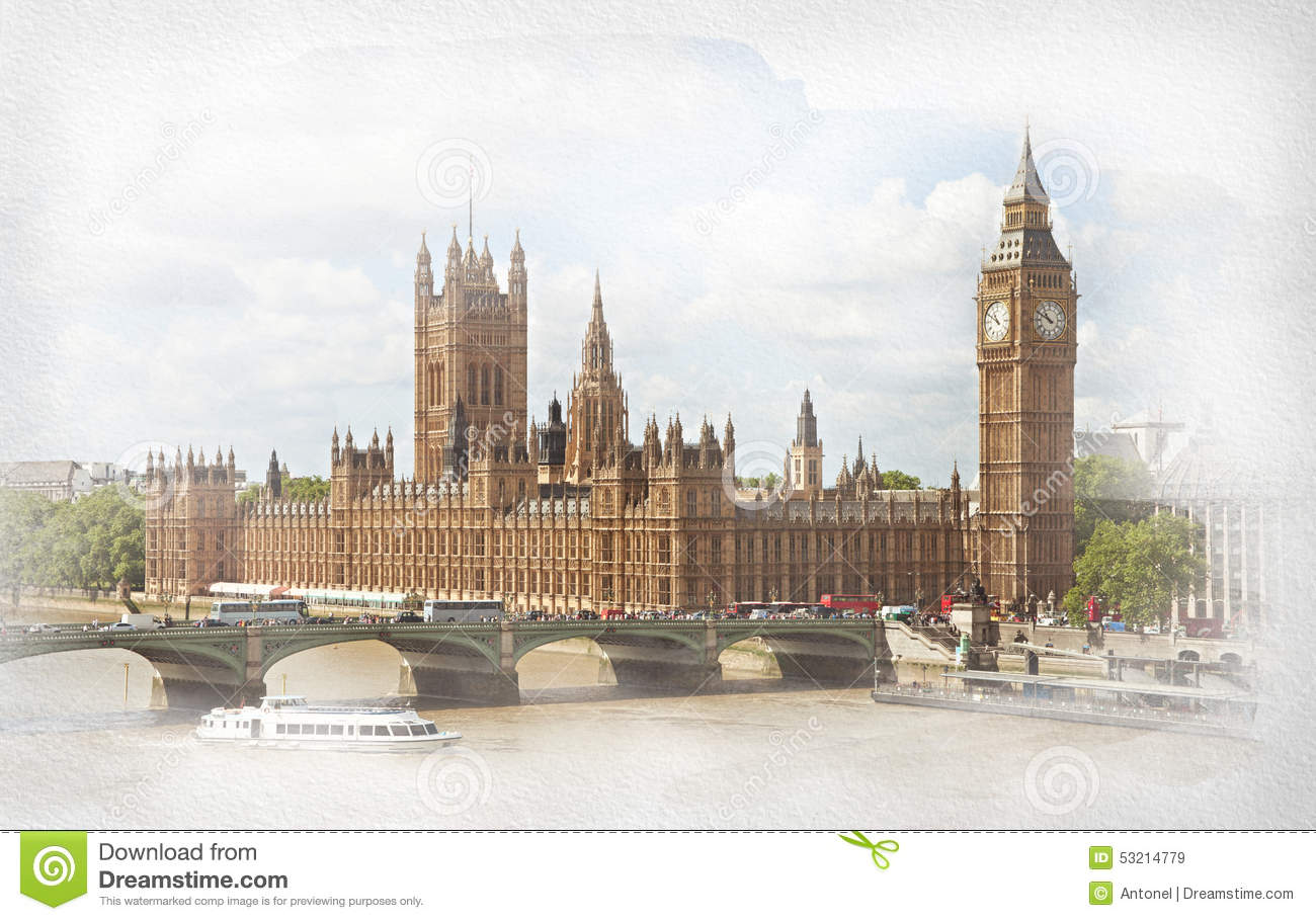 The Palace Of Westminster, Elizabeth Tower And Westminster Bridge.