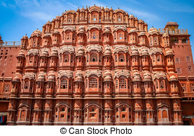 Stock Photography of The famous Hawa Mahal or Palace of the Winds.