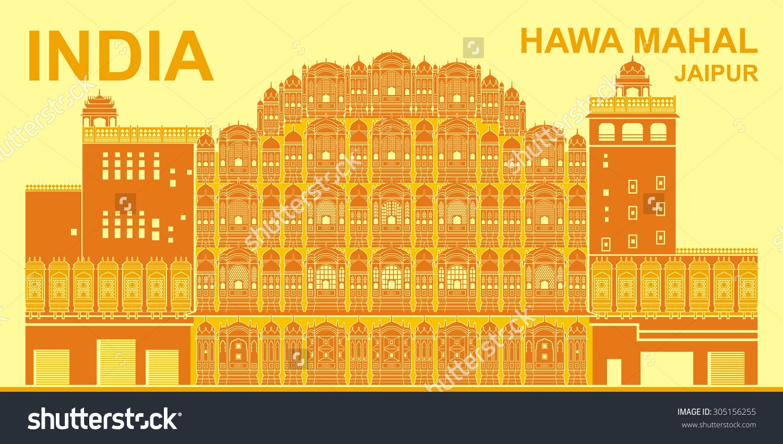 Hawa Mahal Palace Winds Jaipur India Stock Vector 305156255.