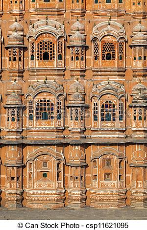 Stock Photographs of Hawa Mahal, the Palace of Winds in Jaipur.