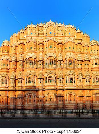 Stock Photos of Hawa Mahal Palace in India, Rajasthan, Jaipur.