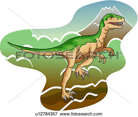Clip Art of reptile, dinosaur, paleontology, mountain, deinonychus.