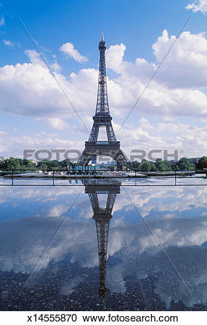 Stock Photography of France, Paris, Eiffel Tower reflecting in.