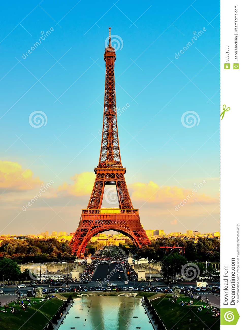 Eiffel Tower At Sunset From Trocadero Palais De Chaillot Royalty.