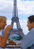 Pictures of Couple drinking coffee at Palais de Chaillot.