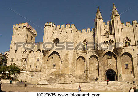 Stock Image of France, Vaucluse, Avignon, 14th century Palace of.