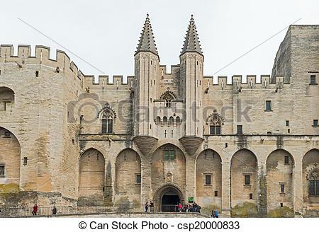 Stock Photos of France Provence Midi Avignon Papal Palace Palais.
