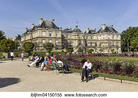 Stock Image of Palais du Luxembourg in the Jardin du Luxembourg.