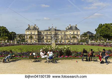 Stock Photograph of Palais du Luxembourg in the Jardin du.