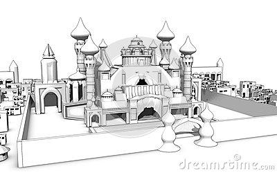 Magic Palace Sketch Royalty Free Stock Image.