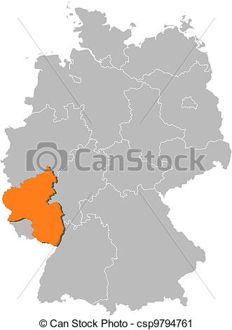 Vector Clip Art of Map of Germany, Rhineland.