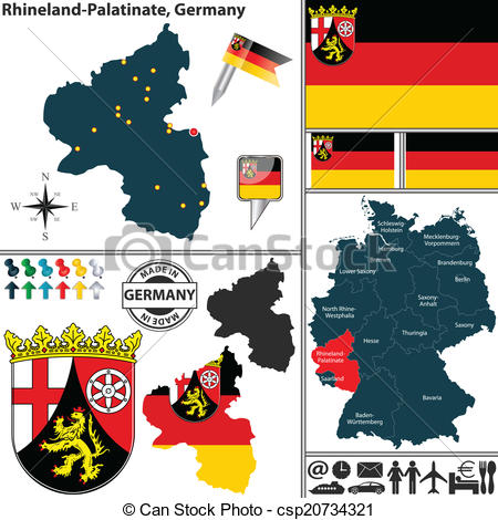 Vector Illustration of Map of Rhineland.