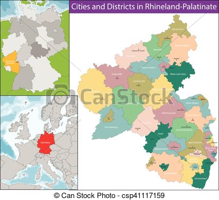 Clipart Vector of Map of Rhineland.