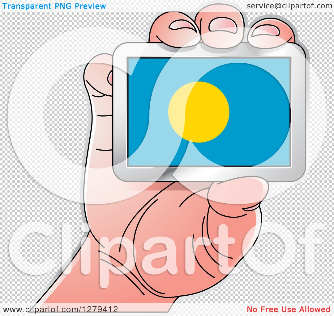 Clipart of a Caucasian Hand Holding a Palau Flag.