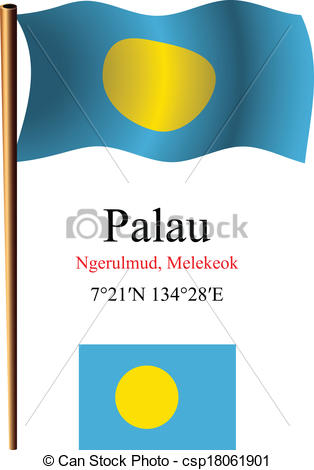 Vector Clipart of palau wavy flag and coordinates against white.