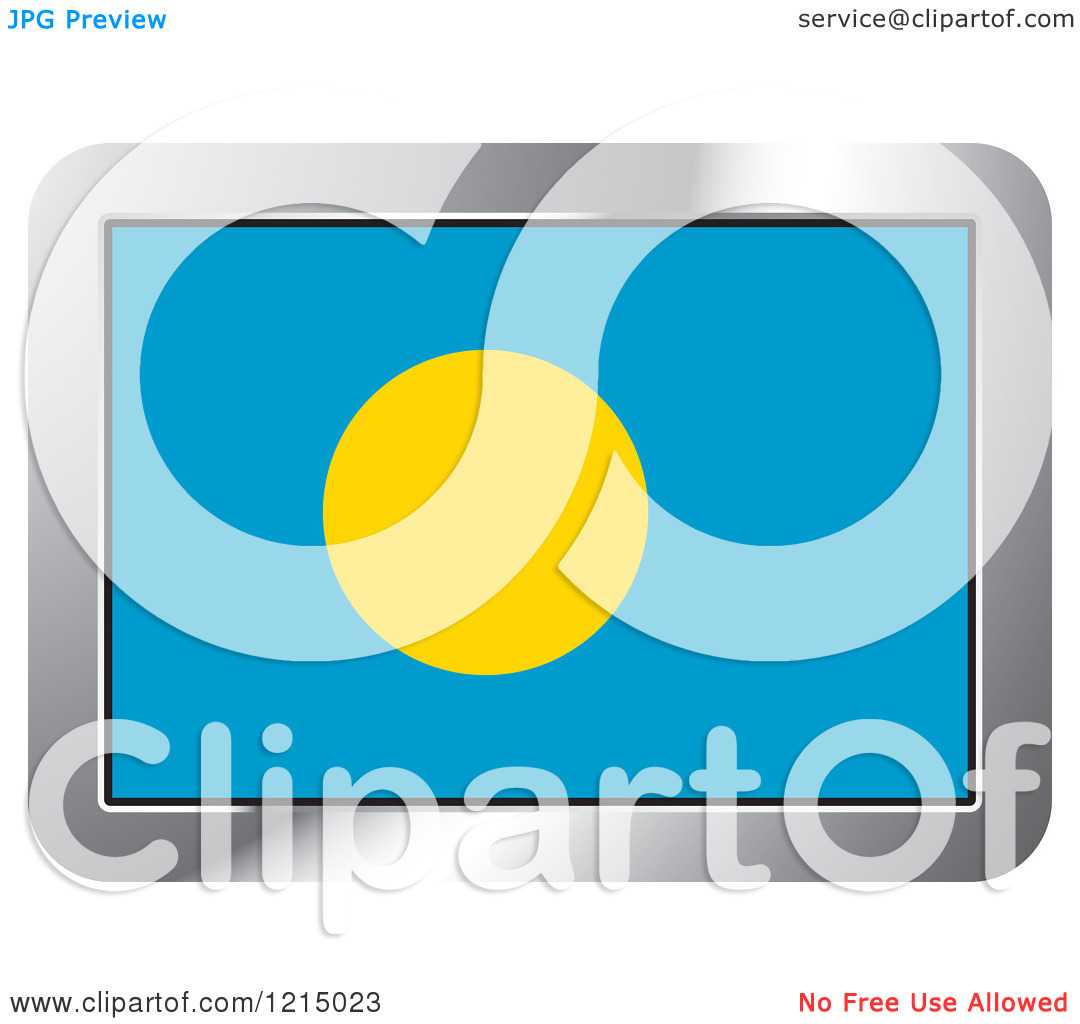 Clipart of a Palau Flag and Silver Frame Icon.