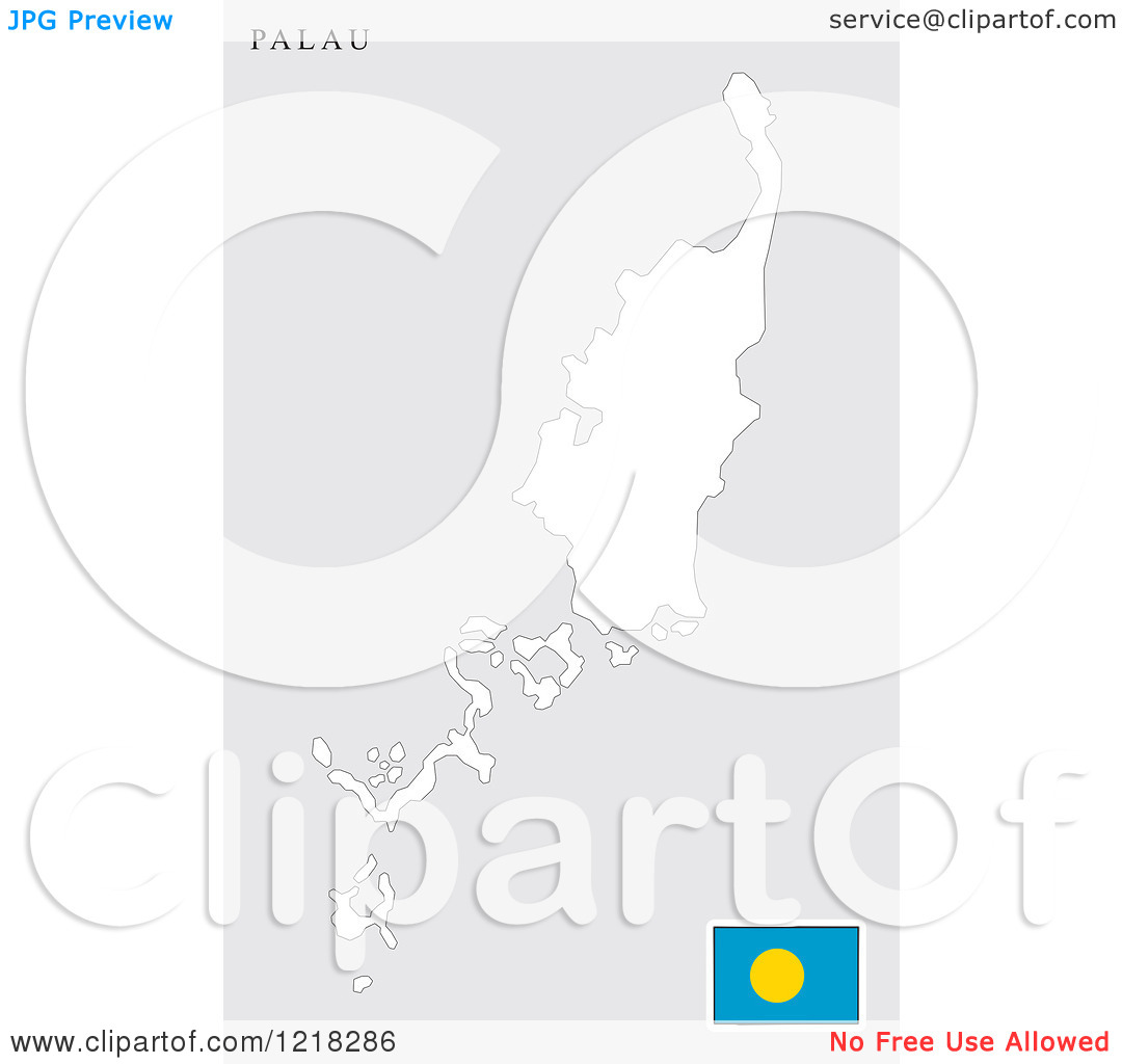 Clipart of a Palau Map and Flag.