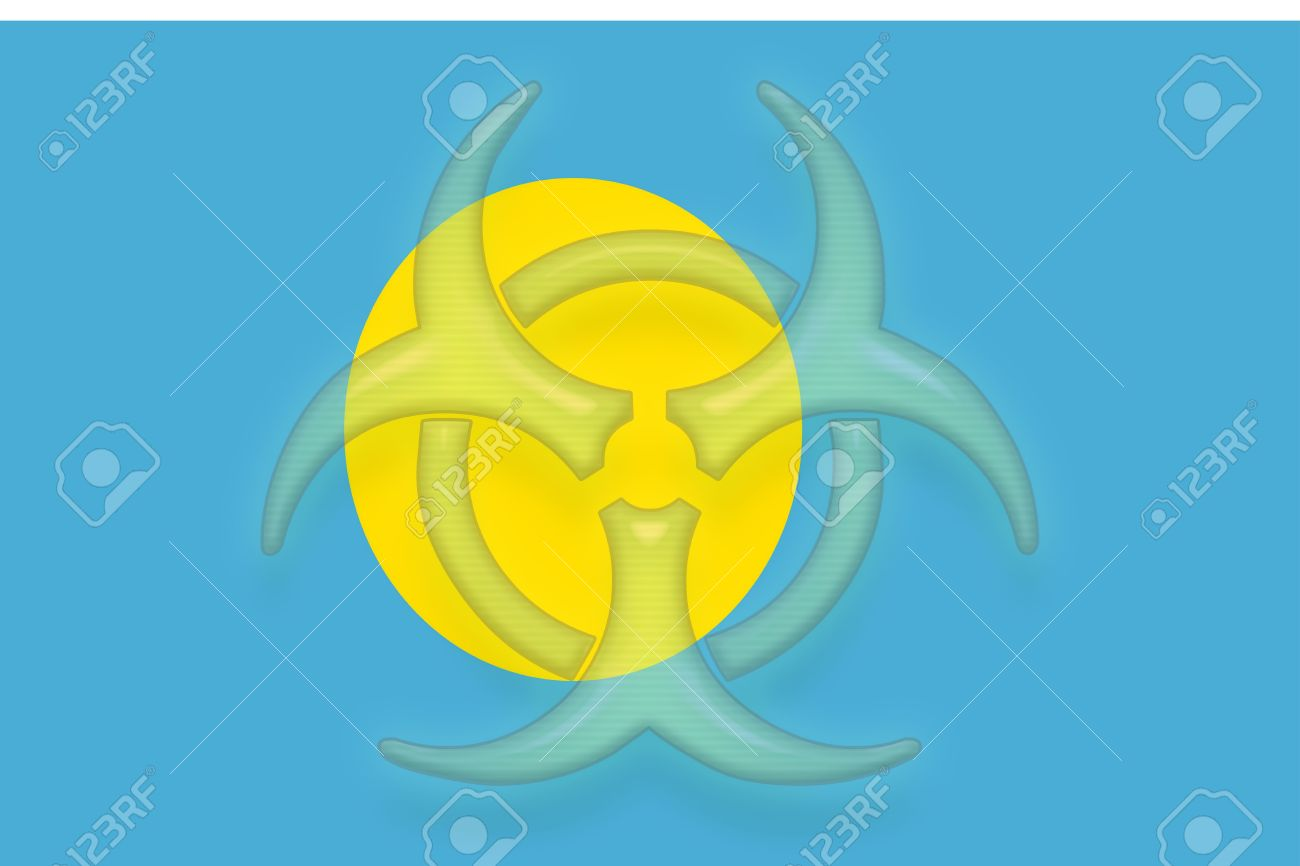 Flag Of Palau, National Country Symbol Illustration Health Warning.