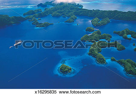 Stock Image of Aerial View of the Palau Islands, Pacific Islands.