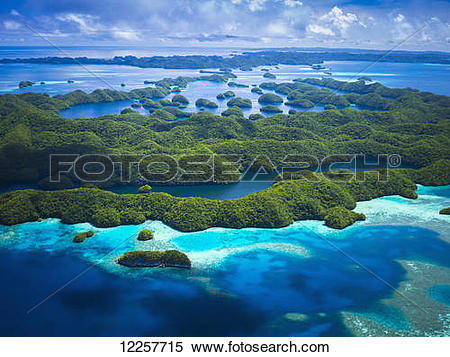 Stock Image of Aerial view of world heritage listed Palau Islands.