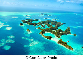 Pictures of Palau islands from above.