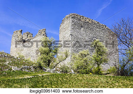 "Stock Photo of ""The ruins of the castle Sirotci Hradek, Palava."