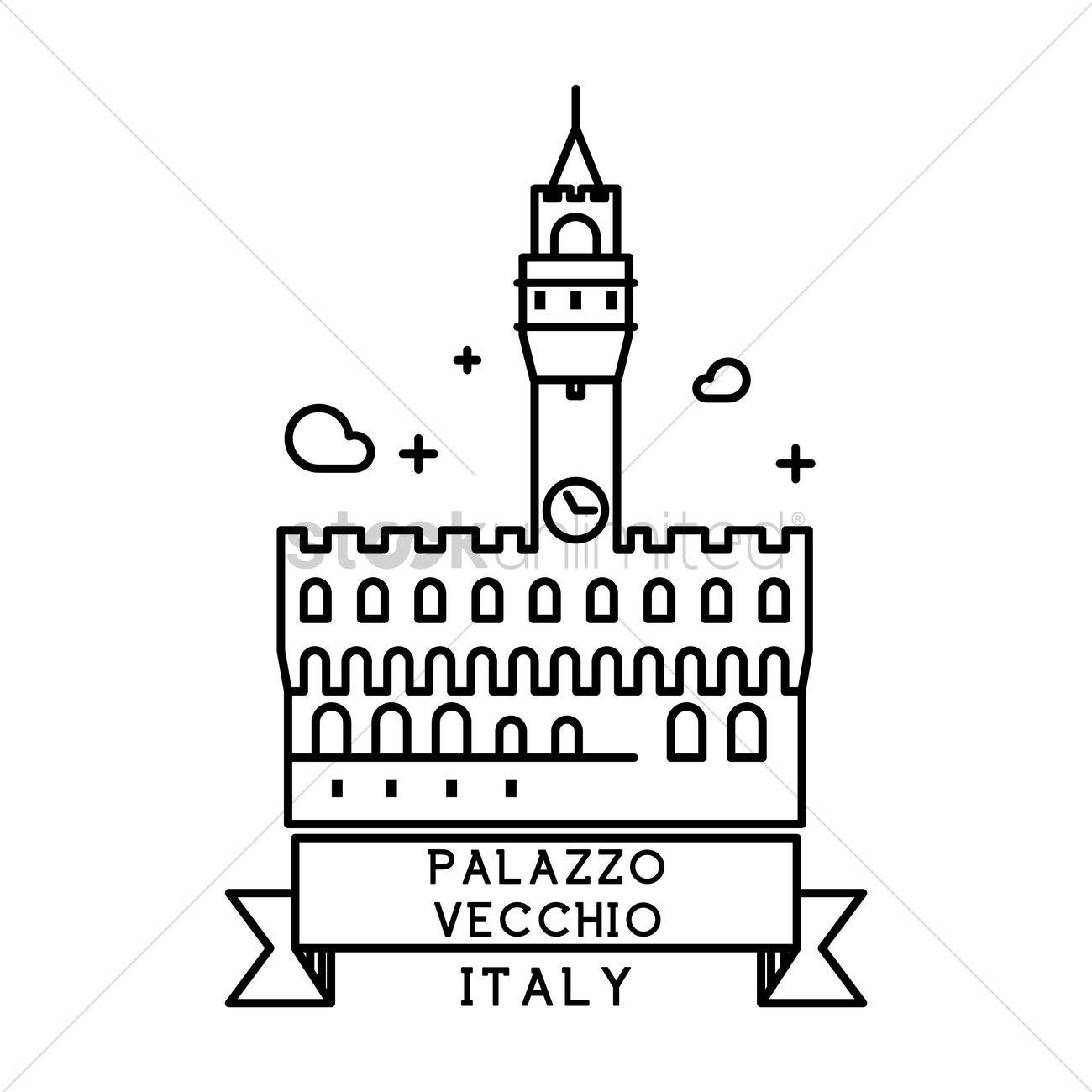 Palazzo vecchio Vector Image.