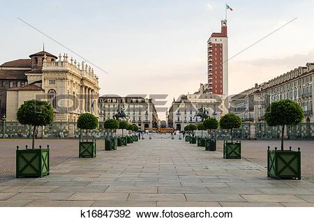 Stock Photo of Torino (Turin), Piazza Castello and Palazzo Madama.