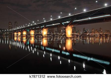Stock Photo of Cheongdam bridge at night k7871312.