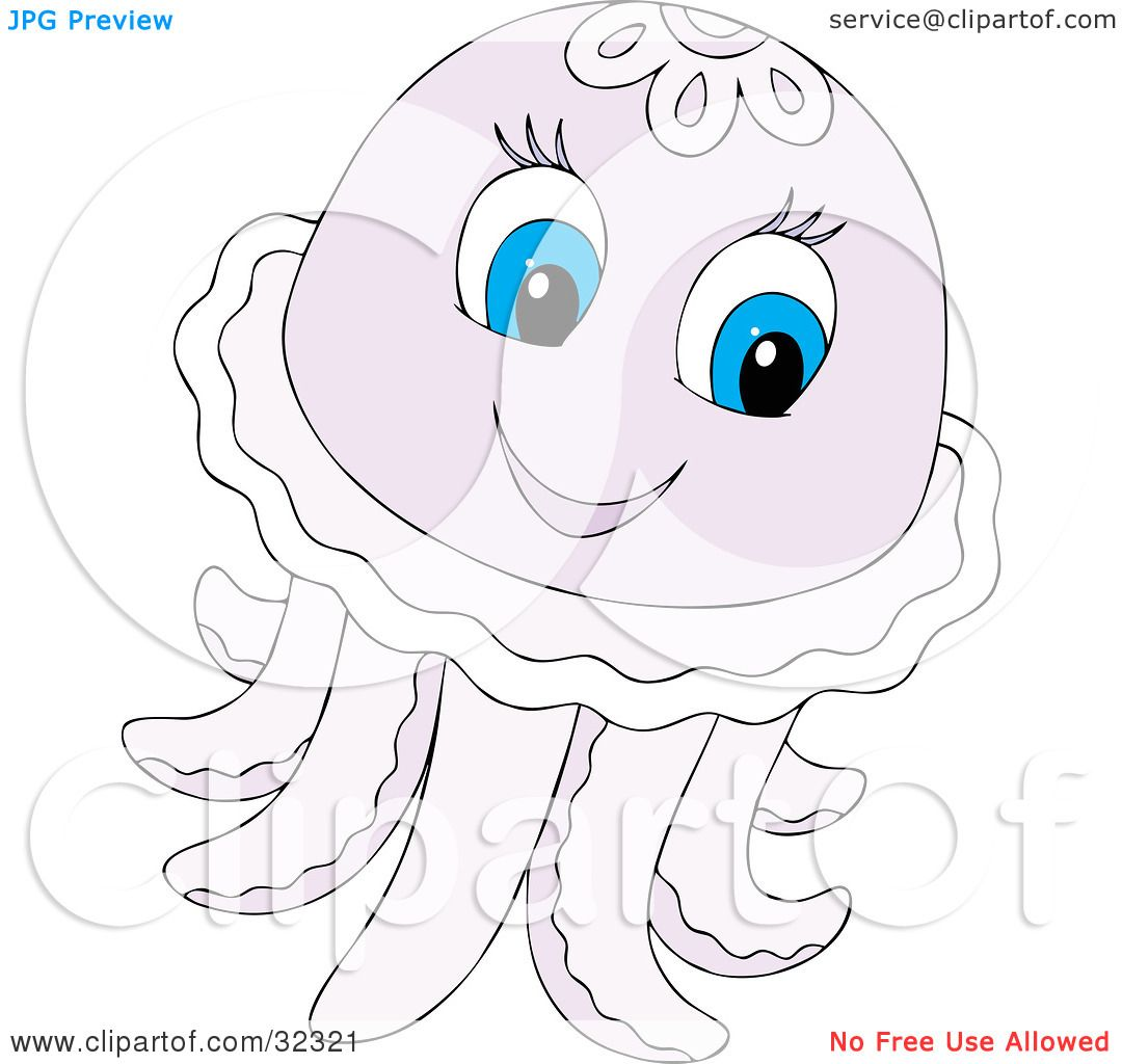 Clipart Illustration of a Cute Pale Purple Jellyfish With Blue.