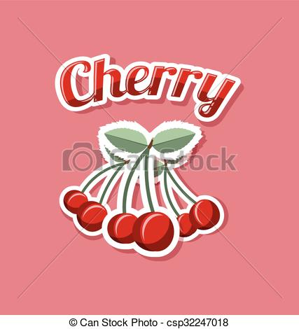 Vector Clip Art of Retro cherry with title on pale red background.