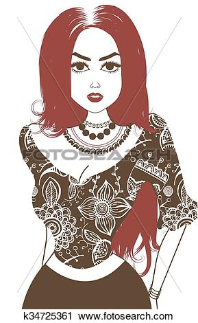 Clipart of Vector image of gypsy. Brown and pale red k34725361.