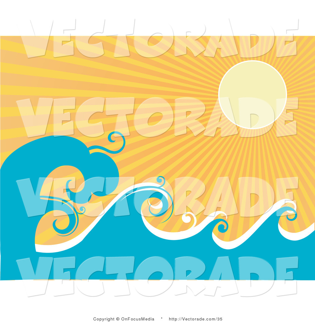 Vector of the Pale Yellow Sun Shining Brightly over Rolling Waves.