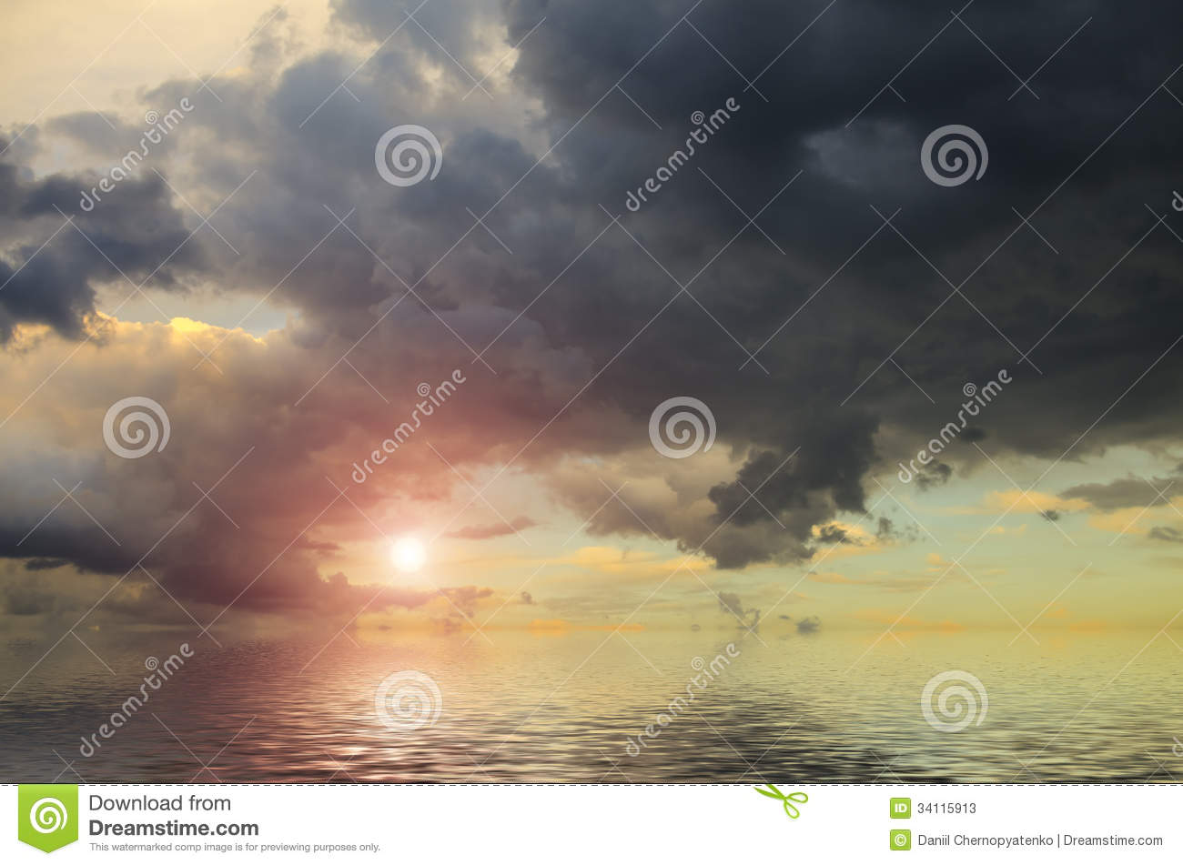 Dramatic Sky With Pale Sun Stock Photos.