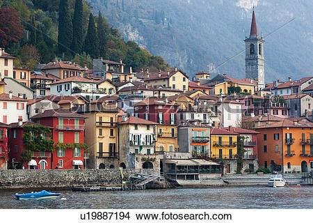Stock Photo of View over lake of town of Varenna along lake shore.