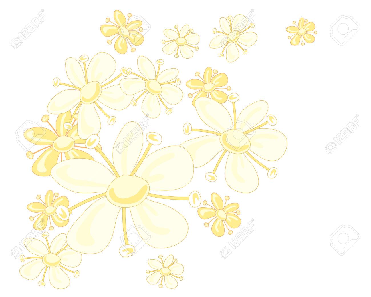 An Illustration Of A Stylized Elderflower Design In Pale Yellow.
