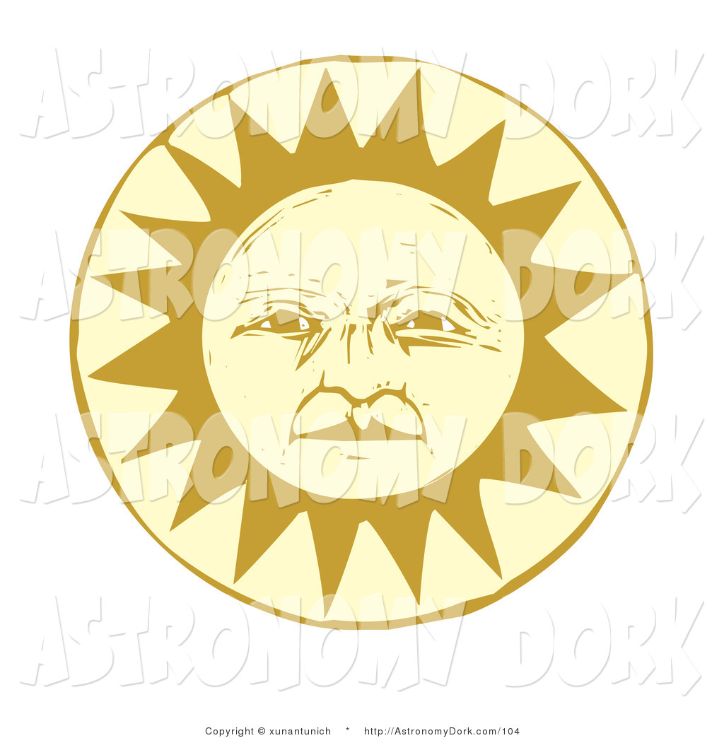Clip Art of a Wise and Pleasant Pale Yellow Sun Face by.