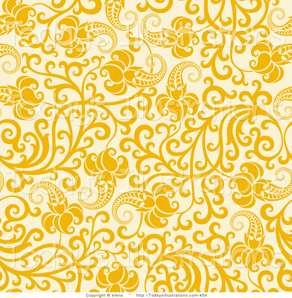 Clipart of a Yellow Flowers with Curling Vines on a Pale Yellow.